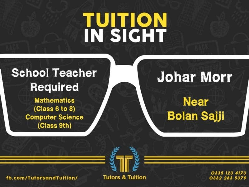 School Teacher Required in Tutors and Tuition